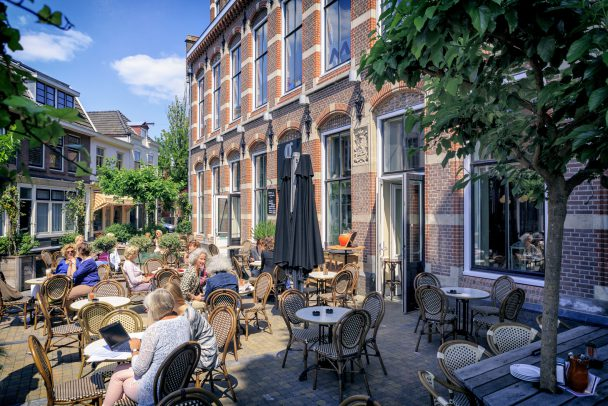 Netherlands, Arnhem, Fashion Quarter (Modekwartier) Terrace of Grand Cafe Restaurant 'Goed'
